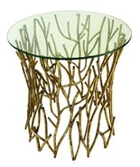 CONTEMPORARY ITALIAN GOLD IRON ROUND TWIG SIDE/ACCENT TABLE ,23''D X 25.... - $593.01