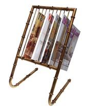 Antique Gold Finish Iron Bamboo Style Magazine Rack Holder. - $158.40