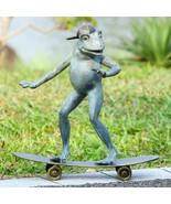 Fun Aluminum Metal Radical Skateboarding Frog Garden Sculpture Statue,19... - $143.55