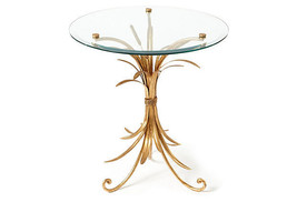 Gold Iron & Glass Wheat Design Accent/End Table,22''Diam x 24''H. - £243.64 GBP