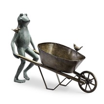 Large Frog & Bird Friend Wheelbarrow Planter Flower Pot Metal Plant Hold... - $206.91