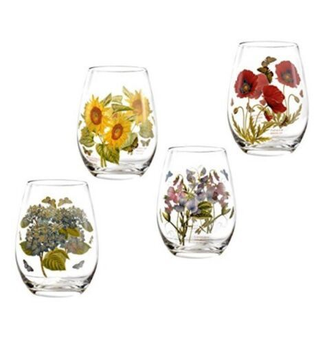 Primary image for PORTMEIRION Botanic Garden Wine Goblets Stemless SET/4 Glasses Tumblers  floral