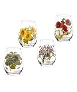 PORTMEIRION Botanic Garden Wine Goblets Stemless SET/4 Glasses Tumblers ... - $56.04