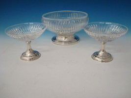 Sterling and Crystal Bowl and 2 Side Bowls by Hawkes Sterling - $395.00