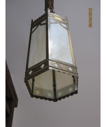 Pair of Gothic style hanging lanterns with slag glass - $785.00