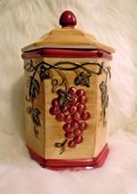 NONNI'S Biscotti Canister Ceramic Grapes Tuscan... - $19.45