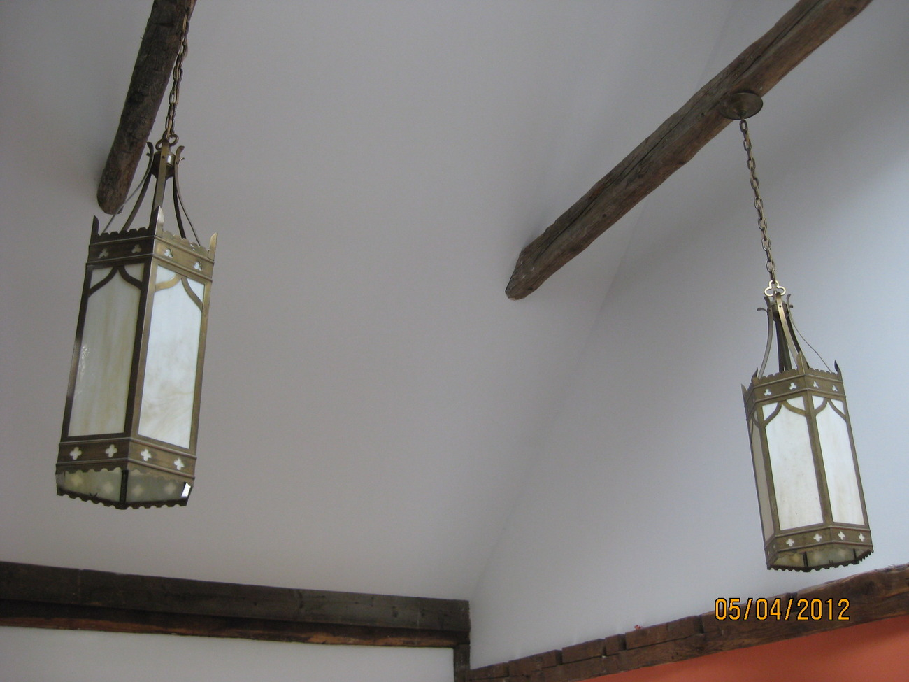 Pair of Gothic style hanging lanterns with slag glass