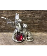Ture Love MAGICAL Dragon and Cat with Ruby Red Crystal Ball Tailsman - $18.54