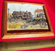 Home Treasure Art Decor 1949 Bill Paxton Maine Artist Framed Locomotive Painting - $237.50
