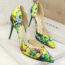 534s086 Sexy elegant breaking flowers pointed pumps,Size 34-39, green heels - $48.80