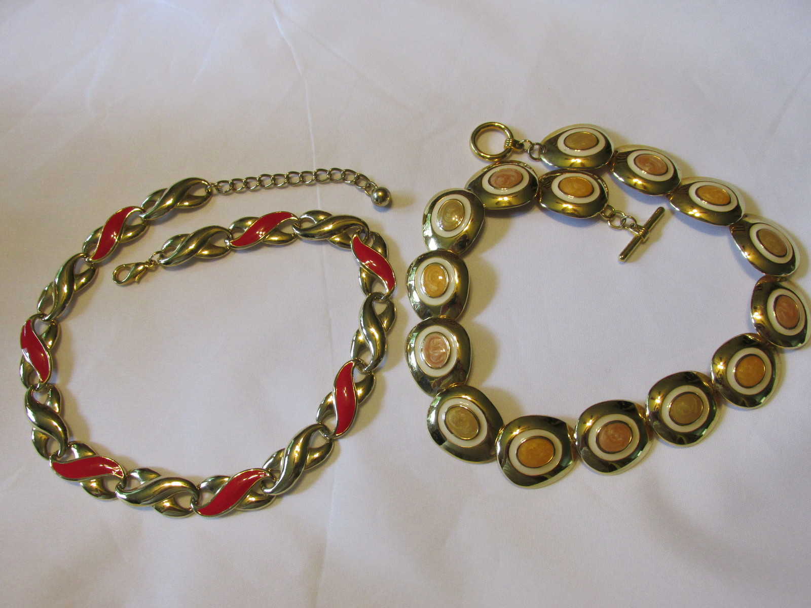 Two Retro / Vintage Gold Toned Enameled Link Necklaces - Costume Jewelry