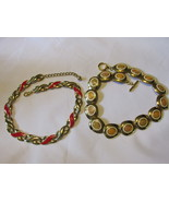 Two Retro / Vintage Gold Toned Enameled Link Necklaces - Costume Jewelry - $15.00