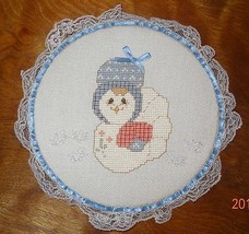 New Hen Chicken Lace Framed Country Handmade Finished Cross Stitch Bonnet  - $29.46