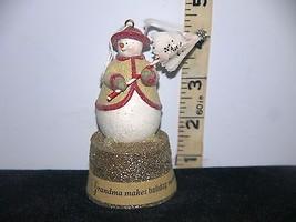 Vintage Flocked Grasslands Road Christmas Grandma Snowman Bell Ornament - $7.50