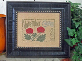 November Floral Postcard cross stitch chart From The Heart  - $5.00