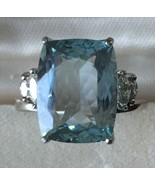 Estate Natural VVS blue 6.5 carat Aquamarine & Diamond 14k gold engageme... - $1,999.99
