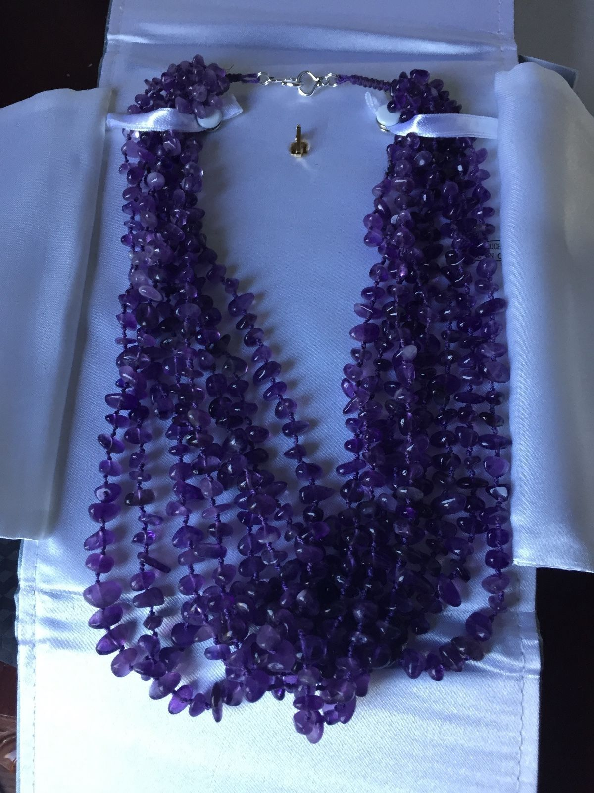 Heavy 2000+ Carat Estate Natural 8 strand Amethyst & SS necklace about 18 inches