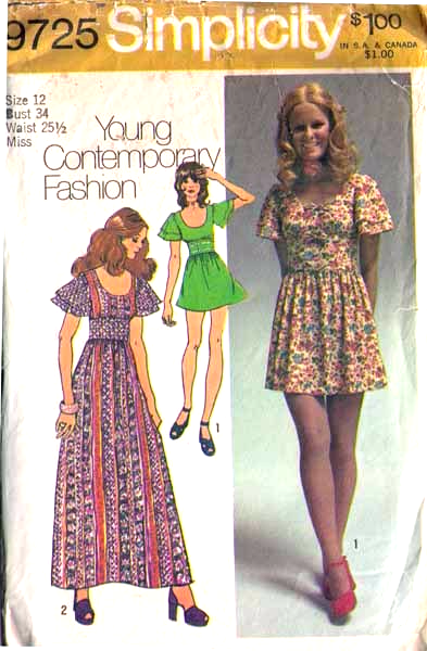 1971 DRESS Pattern 9725-s Size 12 - Complete