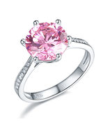 925 Sterling Silver Wedding Engagement Ring 3 Carat Pink Created Diamond... - $119.99