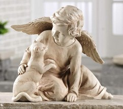 "10"" Angel on Bended Knee with Cat Figurine Grey Polystone"