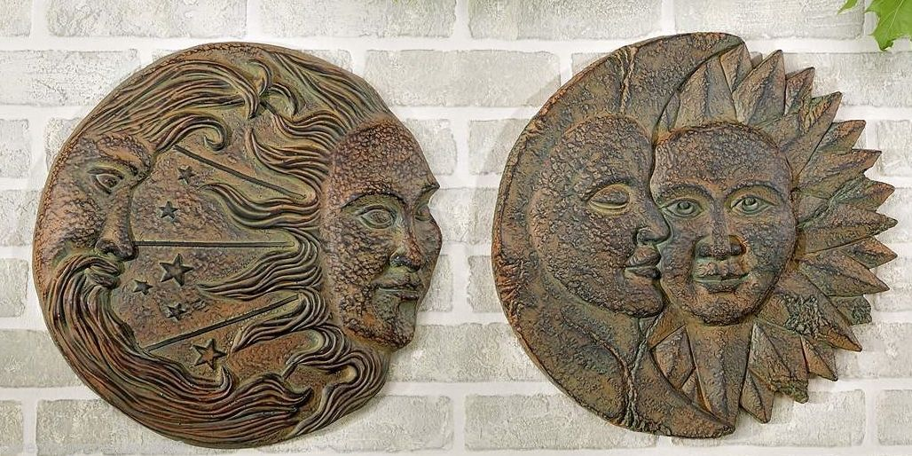"""15"""" D Sun & Moon Design Wall Plaques Set of 2 Polyresin NEW"""