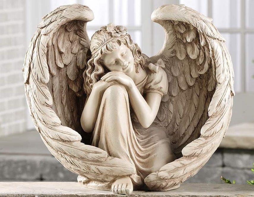 "15"" Sleeping Angel Design Garden Statue Polystone Memorial Statue"