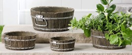 Set of 4 Cement Apple Basket Design Planter Pots