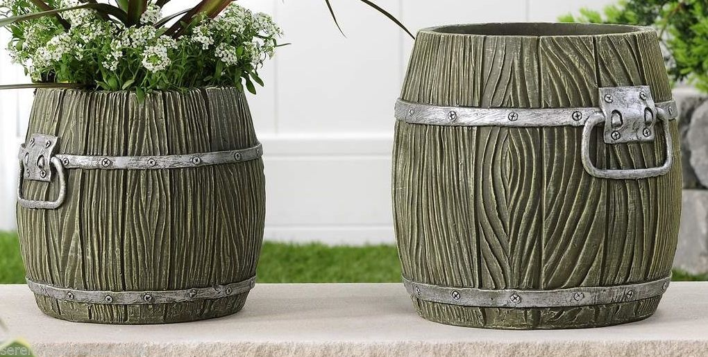 Set of 2 Cement Barrel Design Planter Pots