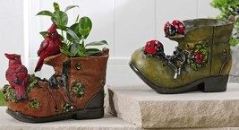 Set of 2 Boot Design Planters - 1 of each Ladybug, Cardinal Polyresin