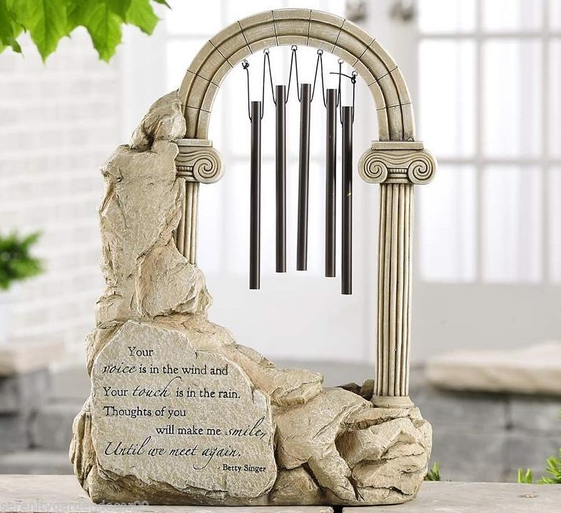 "14"" Memorial Design Arched Column Standing Windchime w Inspirational Sentiment"
