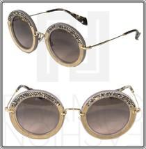 MIU MIU NOIR Crystal MU 08R Argil Suede Grey Gold Round Sunglasses SMU08RS - $227.70