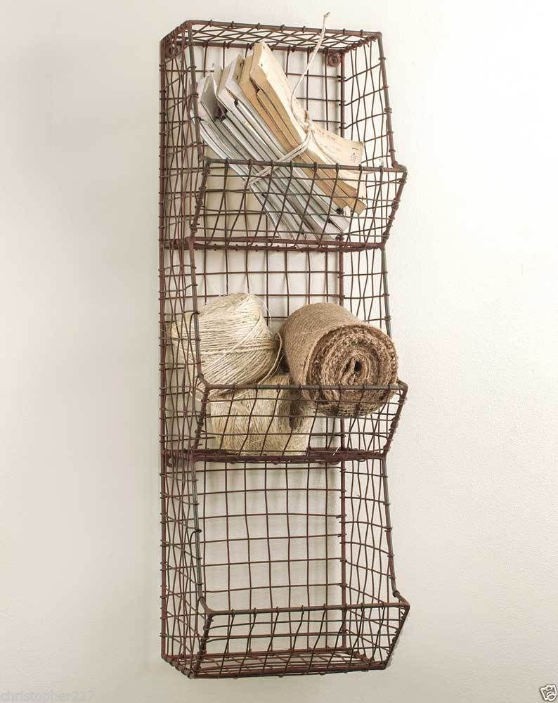 Wall Decor Using Baskets : Small handmade metal wire country style wall basket bin