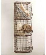 Small Handmade Metal Wire Country Style Wall Basket Bin Storage Organize... - $59.35
