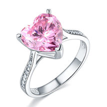 3.5 Ct Heart Pink Created Diamond Wedding Anniversary Ring 925 Sterling Silver - $109.99