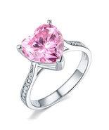 3.5 Ct Heart Pink Created Diamond Wedding Anniversary Ring 925 Sterling ... - $109.99