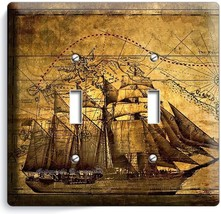Pirate Ship Old Treasure Map Double Light Switch Cover Boys Bedroom Room Decor - $9.71