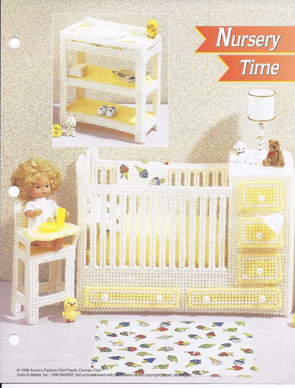 Primary image for Nursery Time Fashion Doll Plastic Canvas Pattern~Annie's~1996