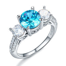 925 Sterling Silver 3-Stone Bridal Ring 2 Carat Created Blue Diamond Vintage  - $119.99