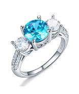 925 Sterling Silver 3-Stone Bridal Ring 2 Carat Created Blue Diamond Vin... - $119.99