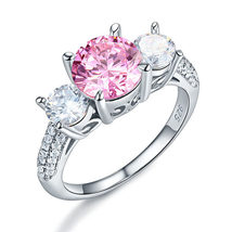 925 Sterling Silver 3-Stone Ring 2 Carat Created Fancy Pink Vintage Style - $119.99