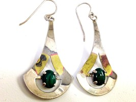 VINTAGE STERLING SILVER MODERNIST MALACHITE DANGLE EARRINGS MARKED MILY?... - $39.59