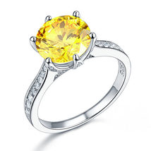 Sterling Silver Wedding Anniversary Luxury Ring 3 Ct Yellow Canary Lab Diamond - $119.99