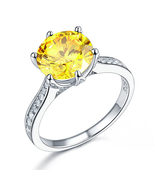 Sterling Silver Wedding Anniversary Luxury Ring 3 Ct Yellow Canary Lab D... - $119.99