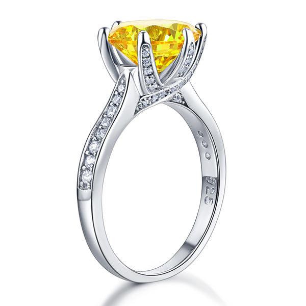 Sterling Silver Wedding Anniversary Luxury Ring 3 Ct Yellow Canary Lab Diamond