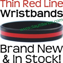 25 Thin RED Line Wristband Bracelets Police Officers Patrol Awareness Su... - $18.88