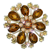 P ugster Vintage Yellow Tear Drop Stone Crystal Rhinestone Open Floral F... - $31.99