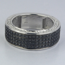 14k White Gold Finish Solid Sterling Silver Band Ring - $145.33