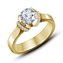 Hot Fashion White Sim Diamond 925 Silver Engagement Ring In 18k Yellow Gold Fn - £49.60 GBP