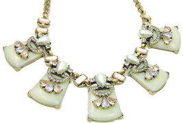 Faux Pearl Teardrop Ivory Rose Gold Geometric Statement Necklace Set - £30.45 GBP