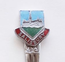 Collector Souvenir Spoon Great Britain UK England Salisbury Cloisonne Emblem - $12.99